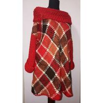 Sweter Largo Lana Merino Tejido En Telar Y Crochet Oferta