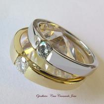 Anel Aliança Solitário Diamante 10 Pt Ouro 18k Certificada