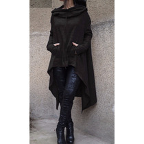 Suéter Cardigan Negro Largo Vestido Hoodie Abrigo Sudadera