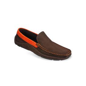 Zapato Mocasín Para Hombres Mega 0811 Marrón/naranja