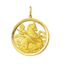 Medalha Pingente São Jorge De Ouro 18k Grande 6 Gramas