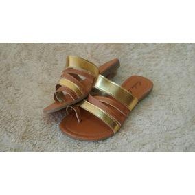 Sandália Baixa Rasteirinha Gladiadora Top Moda2017 Dourada
