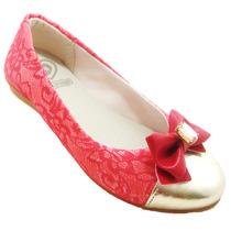 Sapato Juvenil Sapatilha Vermelha Laço Com Biqueira Dourada