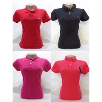 Blusa Camiseta Polo Feminina Grife Lote Kit Com 5 Peças