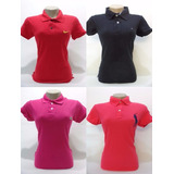 Camisa Polo Feminina Kit Lote Com 3 Peças Marcas Famosas