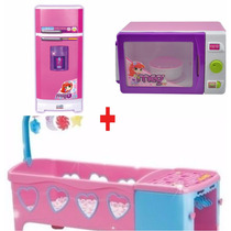 Kit Geladeira Super + Berço Rosa + Microondas Magic Toys