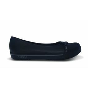 Crocs Dama Crocband Ii.5 Flat Balerina Piso Negra