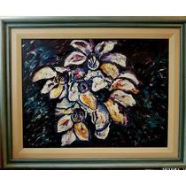 Decoracion; Floral, Pintura Acrilica Enmarcada, Año 2000.