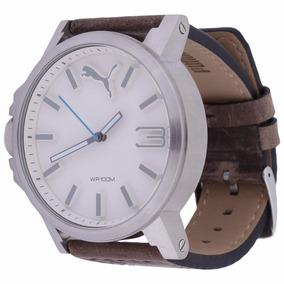 Relógio Masculino Pulseira De Couro Puma Branco Ou Preto