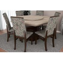 Mesa Sextavada Com Giratório E 6 Cadeiras Móveis Tradiçã