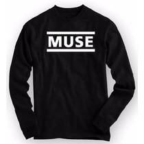 Camiseta Muse - Manga Longa Rock Banda Engraçadas Algodão