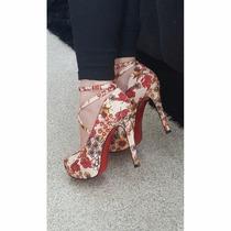 Sapato Estilo Importado Lilás E Flor Salto Alto Frete Grátis