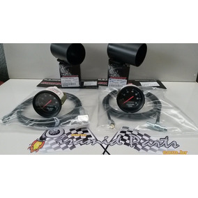 Kit Com 2 Manometros Vw Gol Turbo Cronomac Preto + Brinde