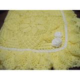 Pañoleta- Mantita- De Lana Amarillo Patito Tejido Crochet