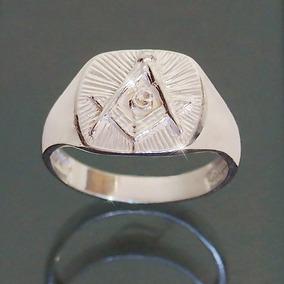 Anel Maçônico De Prata 925 Maçom Masculino Símbolo Maçonaria