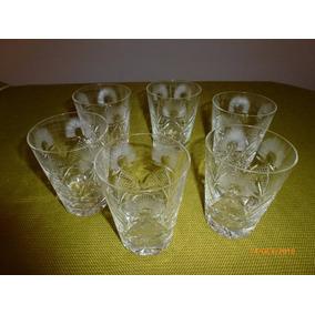 6 Vasos De Cristal Tallado Para Whisky