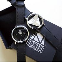 Relógio Unissex Com Pulseira De Couro Band Transparente