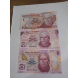 Billetes Mexico 50 Pesos, 3 Estilos Modernos Sin Circular