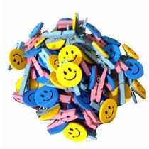Mini Broches Madera Smile X10 / Souvenir Cumpleaños Gora