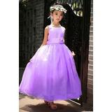 Vestido Lila De Fiesta Niñas Tallas 3 Años Y 4 Año- En Stock