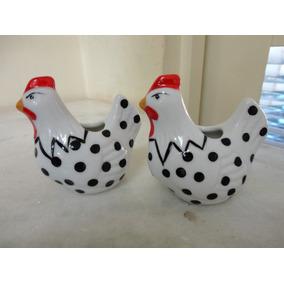 #8541# Par De Paliteiros Em Porcelana Galinha Branca!!!