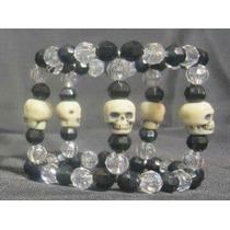 Pulsera Cráneos Cuentas Negras Blancas Gotico Dark Cosplay
