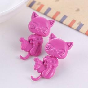 Par De Brincos Gato Gatinho Cat Rosa 3d Tridimensional 1