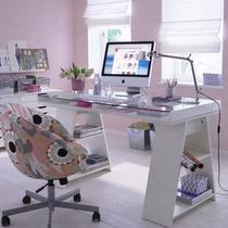 Mesa Para Escritório Com Tampo De Vidro Lapitado