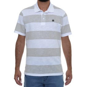 Camiseta Masculina Oakley Polo Striped Square Branca