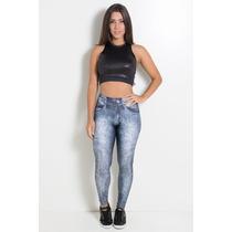 Legging Jeans Sublimada Com Detalhe Na Perna