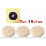 Kit Polimento Disco Adaptador P/ Furadeira Com 3 Boinas Lã