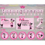 Kit Minnie Impreso Cumpleaños Invitaciones Banderín Cartel