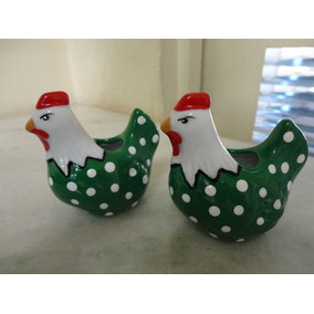 #8537# Par De Paliteiro Em Porcelana Galinha Verde!!!