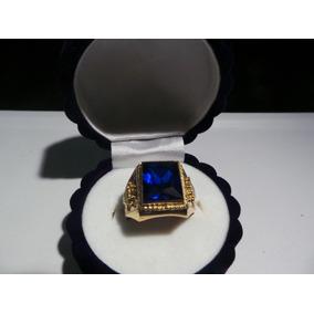 Anillos Sellos De Oro 18k Con Circonia Azul Rojo U Onix