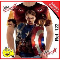 Camisa Camiseta Vingadores Capitão América Estampa Total 122