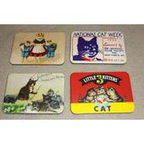 4 Imãs Gatos Magnético Geladeira Retrô Vintage Souvenir Cat
