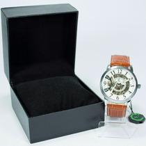 Relógio Masculino Ecotime Esqueleto Couro Automatico + Caixa