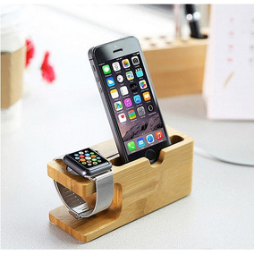 Base Dock De Carga Bambu Para Iphone,iwatch Y Apple Watch
