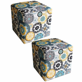 Kit 02 Puff Puf Quadrado Decorativo Flora New Closset Sala
