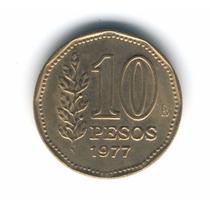 10 Pesos De 1977 Variante: Ina Sobre Raya Ex