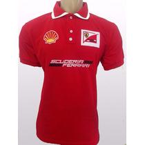 Kit Com 3 Camisas Pollo Ferrari Masculina Bordada