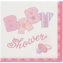 Rosa Stitching Chica Baby Shower Servilletas De Cóctel, 16c