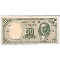 Chile Billete De 5 Centesimos Sobre 50 Pesos 1960+61 P.126