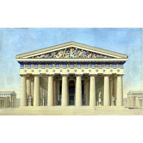 Lienzo Tela Dibujo Arquitectura Fachada Templo Sicilia 1860