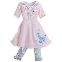 Vestido Y Calza Elsa Frozen Original Disney Store 9/10 Años