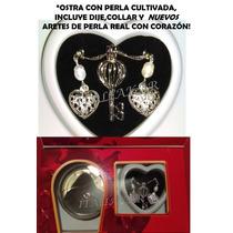 Perla Cultivada En Ostra+collar Con Aretes D Perla Real Amor