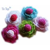 A Pedido Flores Con Bolita Relieve Tejidas Crochet 5 Cm