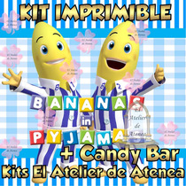 Kit Imprimible Bananas En Pijamas Candy Bar Golosinas 2x1