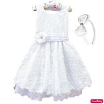 Vestido Infantil Daminha Batizado Formatura Luxo 4 A 16