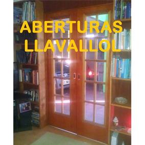 Puerta Doble Hoja De Interior Vidrio Repartido Ench. Cedro